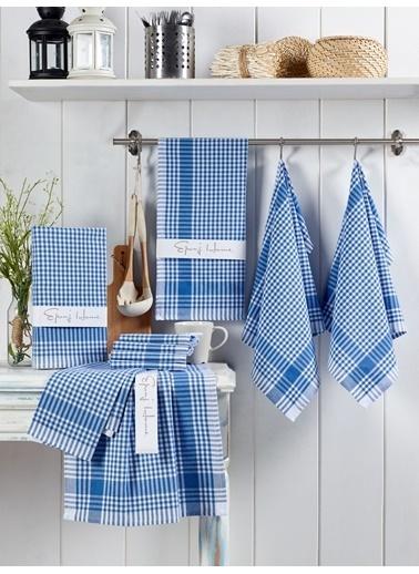 Eponj Home 10lu Kurulama ve Mutfak Peçetesi 45x65Cm PötiKareli Mavi Mavi